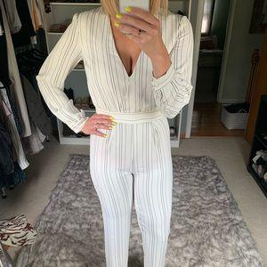Revolve super chic white &black pinstripe jumpsuit